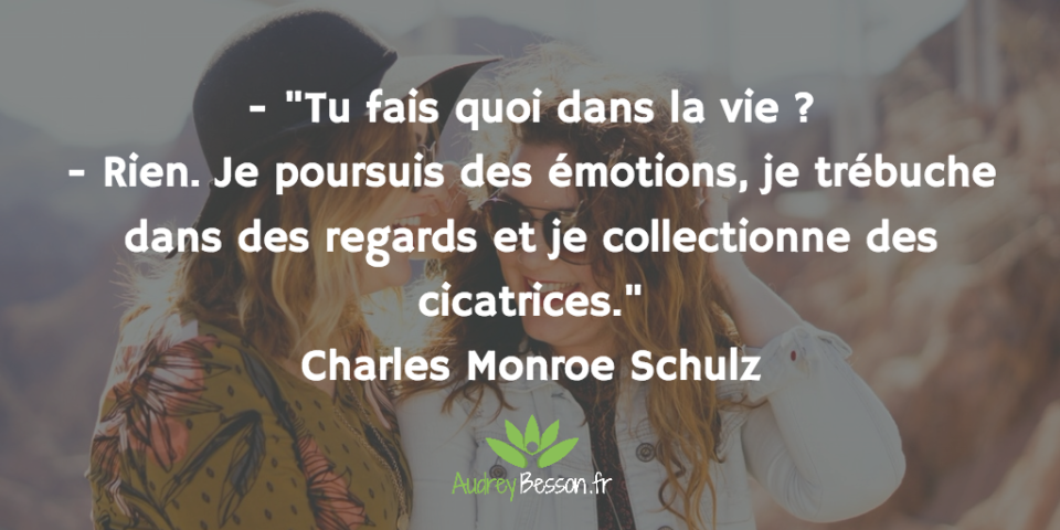 """- """"Tu fais quoi dans la vie ? - Rien. Je poursuis des émotions, je trébuche dans des regards et je collectionne des cicatrices."""" Charles Monroe Schulz"""