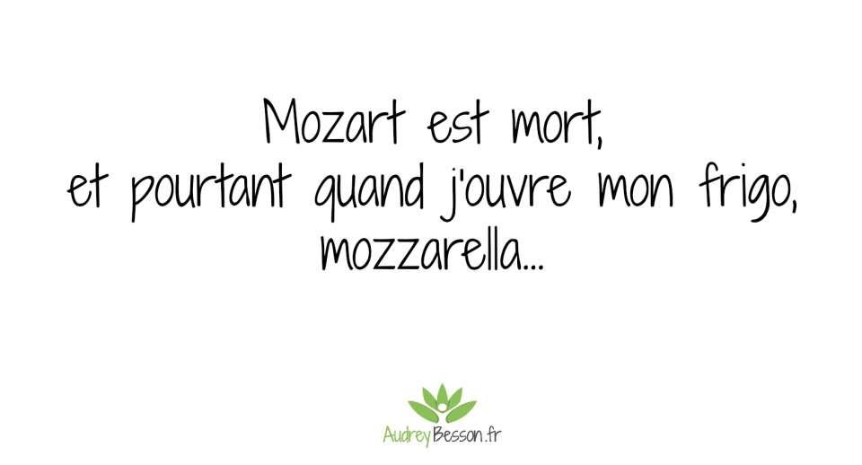 Mozart est mort, et pourtant quand j'ouvre mon frigo, mozzarella...