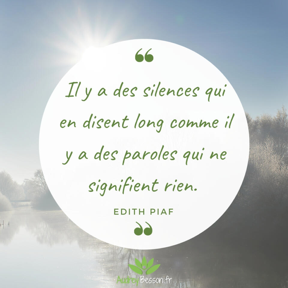 Il Y A Des Silences Qui En Disent Long Comme Il Y A Des Paroles Qui Ne Signifient Rien. Edith Piaf Citation Proverbe