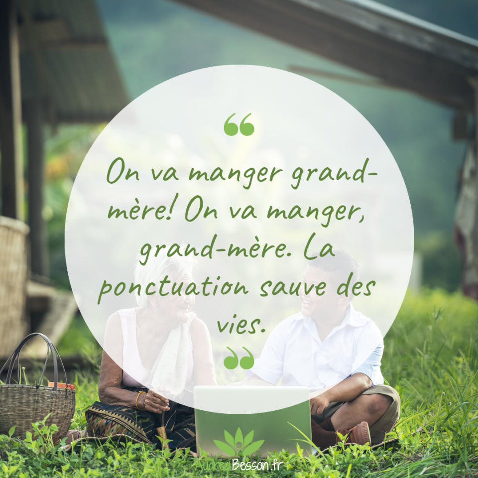 On Va Manger Grand Mère! On Va Manger, Grand Mère. La Ponctuation Sauve Des Vies.