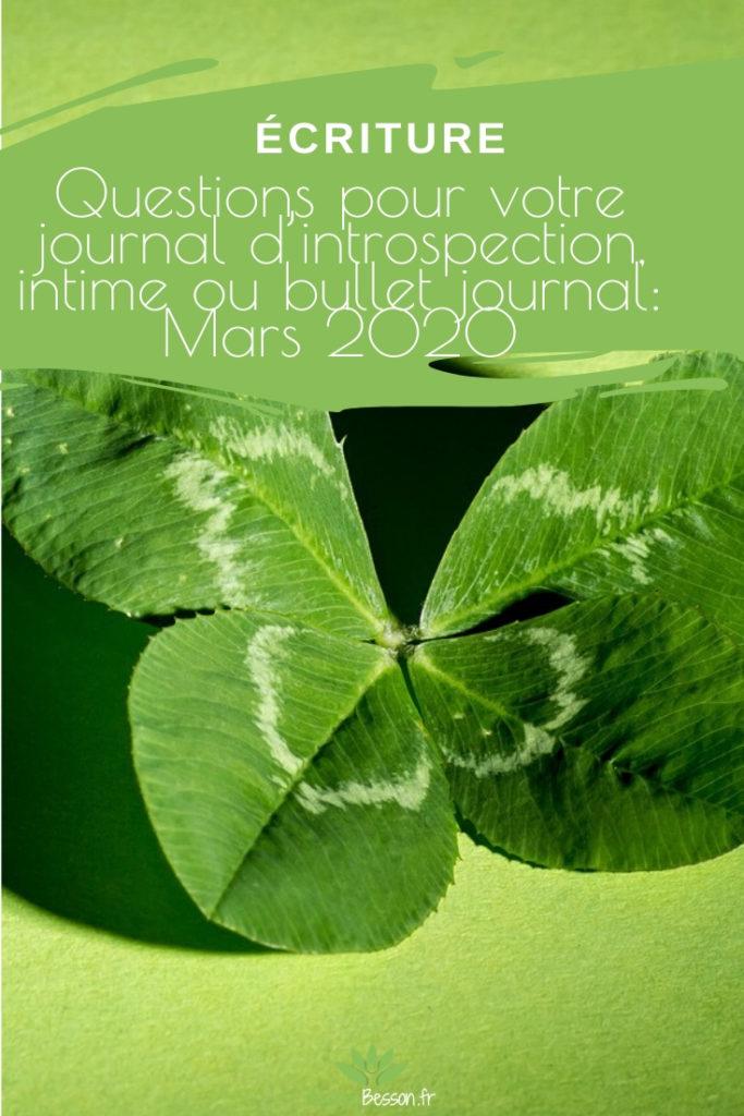 Questions Pour Votre Journal D'introspection, Journal Intime Ou Bullet Journal Mars 2020 Pinterest