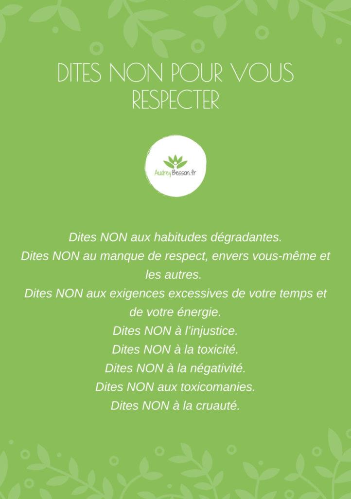 Dites Non Pour Vous Respecter