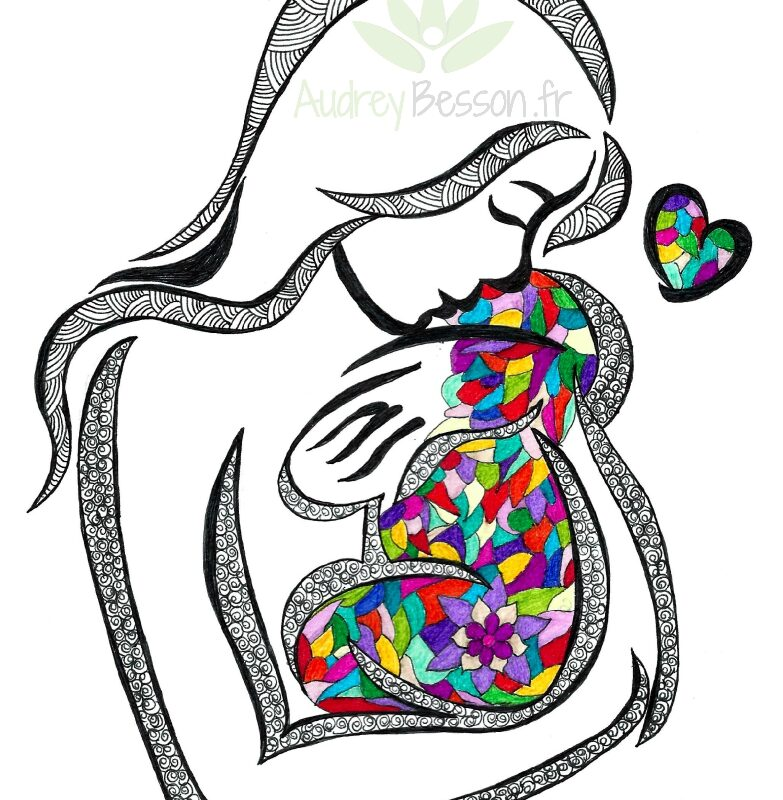 Dessin Mandala Calin Mere Enfant Unique Cadeau Maman Audrey Besson