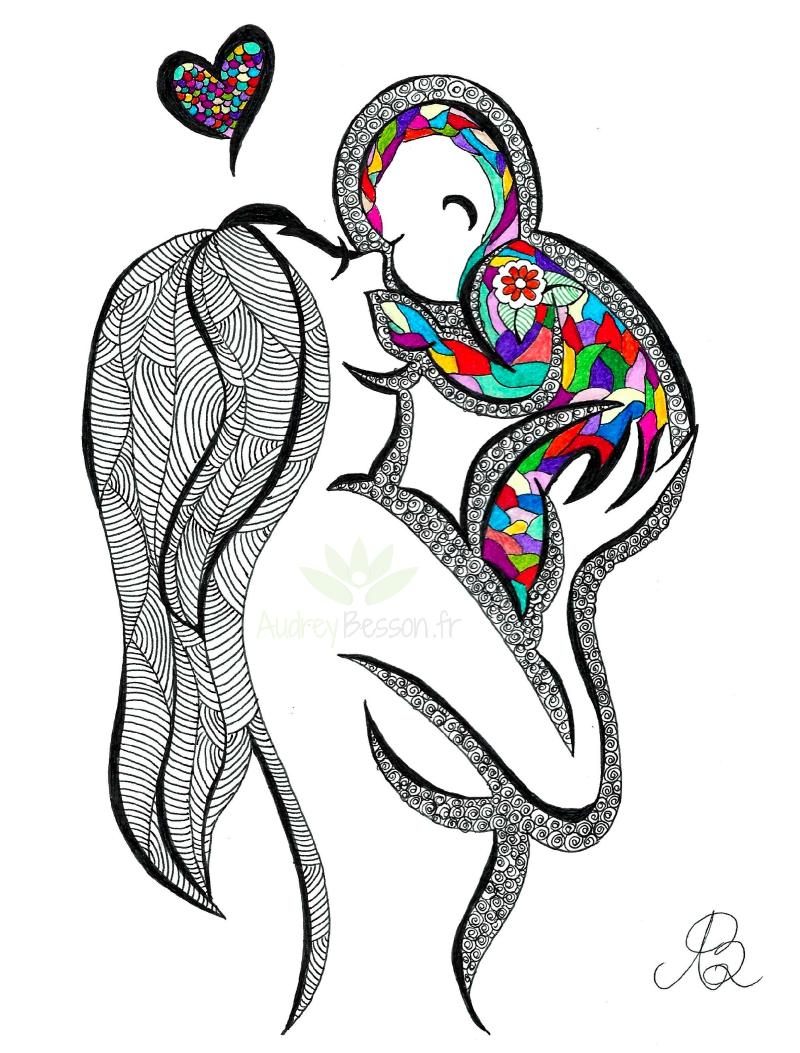 Dessin Mandala Mère Bisou Coeur Enfant Unique Cadeau Gift Audrey Besson Acheter