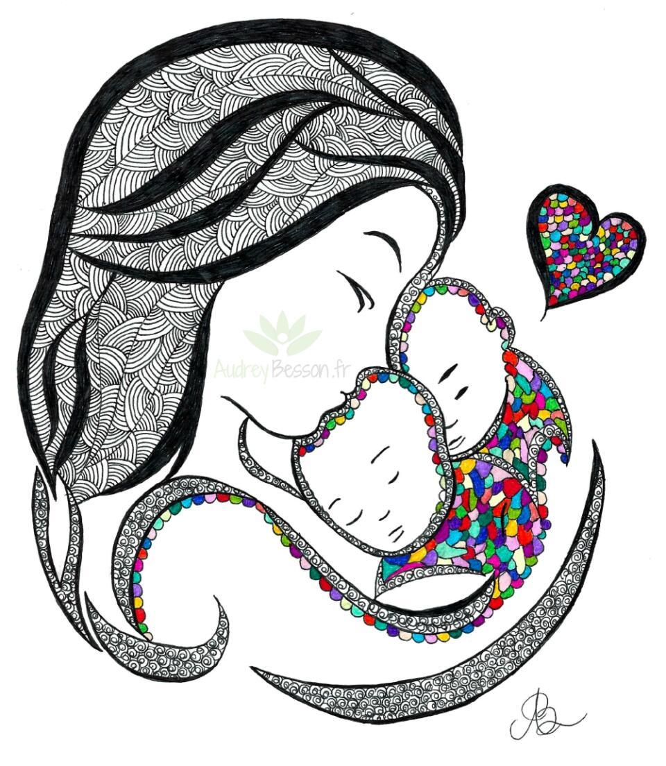 Dessin Mandala Mere Jumeaux Enfants Bebe Calin Fait Main Coeur Unique Gift Cadeau Fête Des Mères Commande