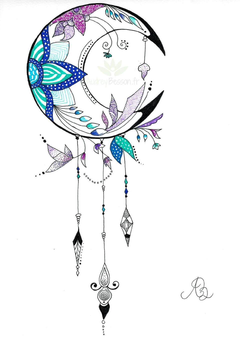 Lune Dessin Mandala Audrey Besson Pouvoir Attrape Rêve Dreamcatcher Audrey Besson