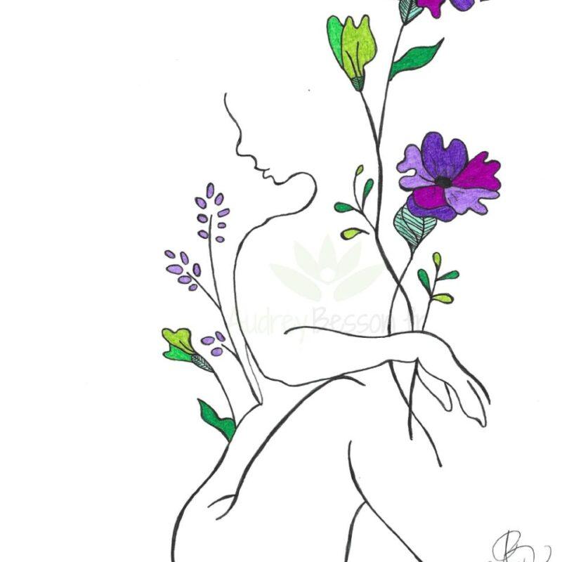 Femme Fleuri Dessin Mandala Unique Cadeau