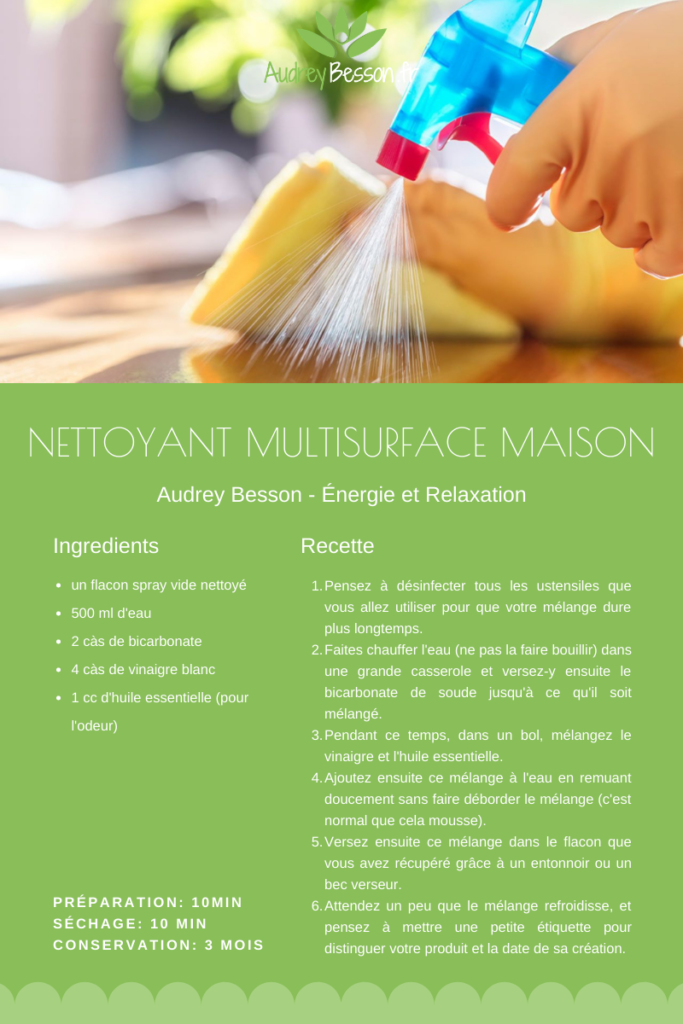 Recette Diy Du Nettoyant Multi Usage Et Multi Surface Maison Vinaigre Bicarbonate Facile
