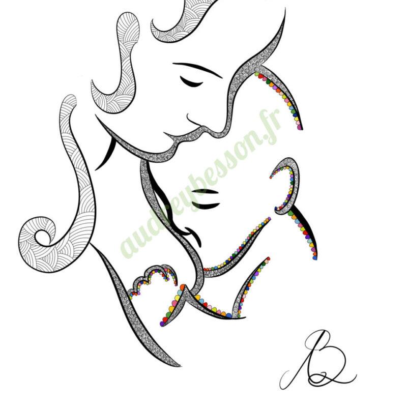 Dessin Allaitement Maternel Maternage Proximal Mandala Femme Mère Enfant Bébé Énergétique Audrey Besson (1)